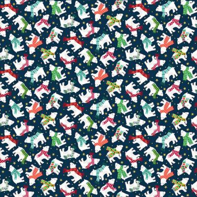 Patchwork anyag - Makower - Christmas 21 Santa Express 2239-B Polar bear blue