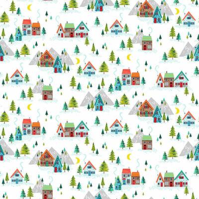 Patchwork anyag - Makower - Christmas 21 Santa Express 2379-W Scenic white