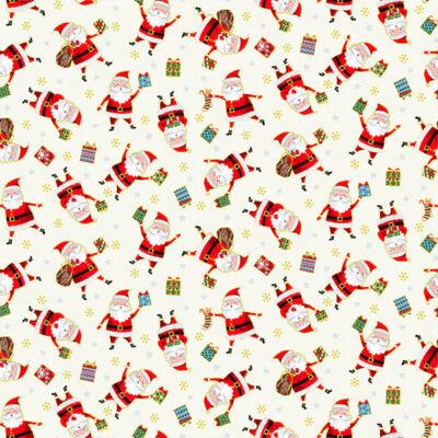 Patchwork anyag - Makower - Christmas 21 Santa Express 2380-Q Santa cream