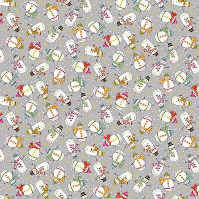 Patchwork anyag - Makower - Christmas 21 Santa Express 2386-S Snowman grey