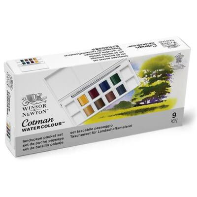 Winsor&Newton Cotman Pocket Set akvarellfesték készlet, 8x1/2 szilke + ecset - Landscape