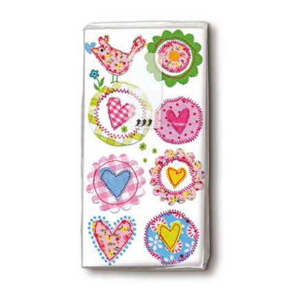 Papírzsebkendő csomag - Aranyos szívek