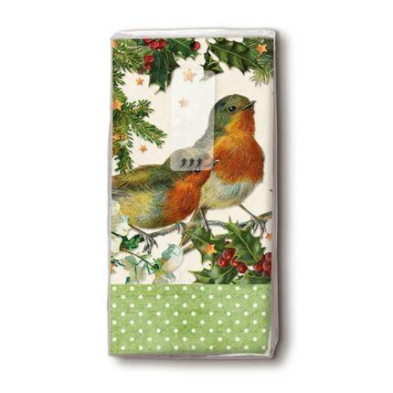 Papírzsebkendő csomag - Robins, zöld