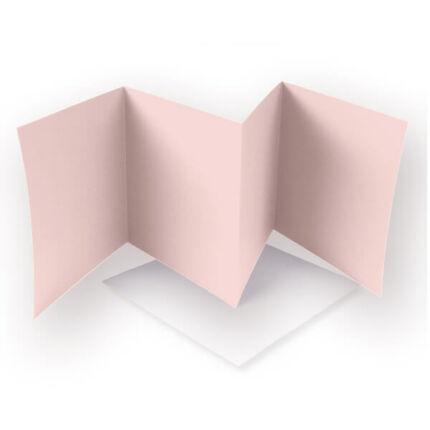 Leporelló kártya - pasztell rózsaszín, 13,5x13,5 cm, 4 lapos