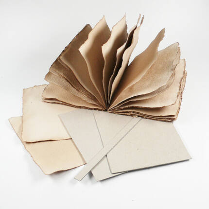 Merített papír album készítő készlet, varrott - A/5, antik, 20 lapos, álló