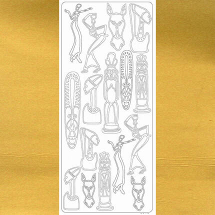 Kontúrmatrica - afrika, arany, 0012  - AKCIÓS