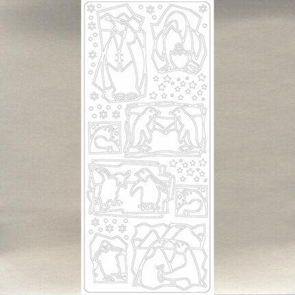 Kontúrmatrica - pingvinek, ezüst, 0114 - AKCIÓS