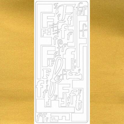 Kontúrmatrica - betű, F, arany, 0238  - AKCIÓS