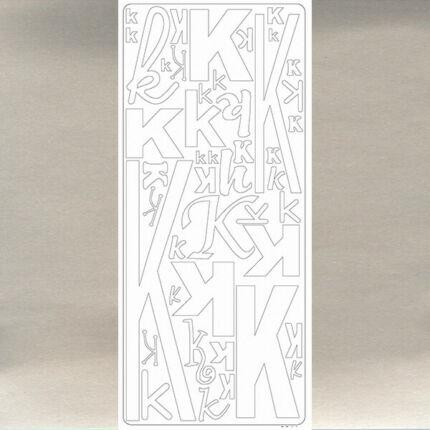 Kontúrmatrica - betű, K, ezüst, 0241  - AKCIÓS