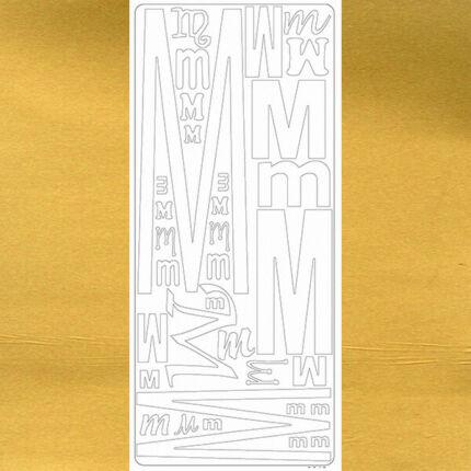 Kontúrmatrica - betű, M, arany, 0243  - AKCIÓS