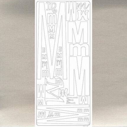 Kontúrmatrica - betű, M, ezüst, 0243  - AKCIÓS