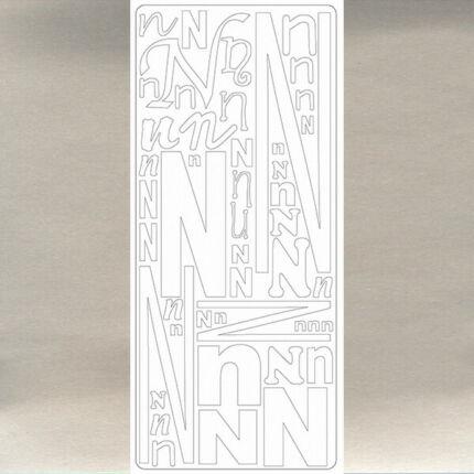 Kontúrmatrica - betű, N, ezüst, 0244  - AKCIÓS