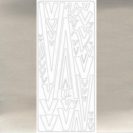 Kontúrmatrica - betű, V, ezüst, 0251  - AKCIÓS