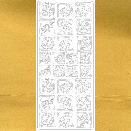 Kontúrmatrica - virág, katica, pillangó, arany, 0256  - AKCIÓS