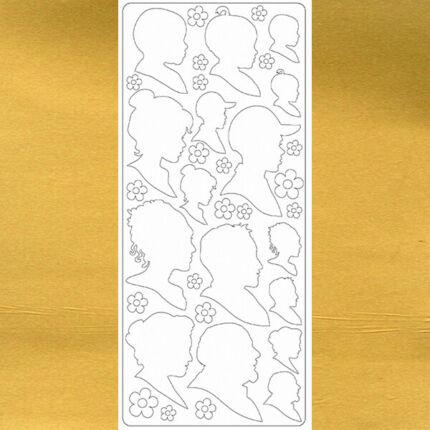 Kontúrmatrica - emberfejek, arany, 0262  - AKCIÓS