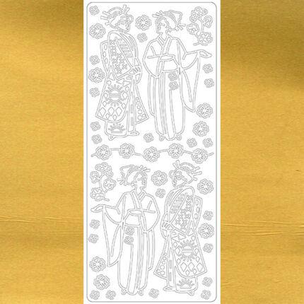 Kontúrmatrica - japán gésák, arany, 0380  - AKCIÓS