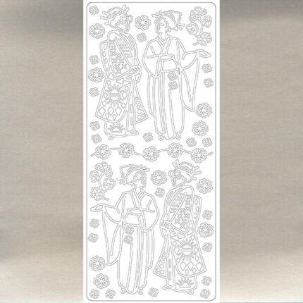 Kontúrmatrica - japán gésák, ezüst, 0380  - AKCIÓS