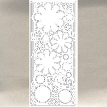 Kontúrmatrica - virág, 3D, ezüst, 0400  - AKCIÓS
