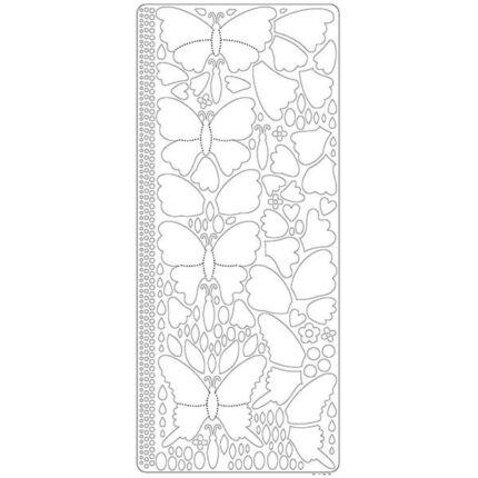 Kontúrmatrica - 3D pillangók, fehér, 0426  - AKCIÓS