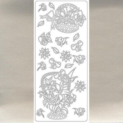Kontúrmatrica - virágkosár, ezüst, 1644  - AKCIÓS