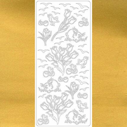 Kontúrmatrica - tulipánok, arany, 1753  - AKCIÓS