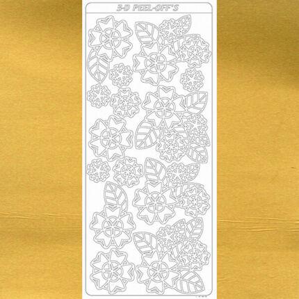 Kontúrmatrica - virágok, 3D, arany, 1973 - AKCIÓS