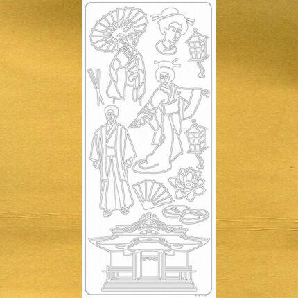 Kontúrmatrica - japán öltözet, arany, 2295  - AKCIÓS