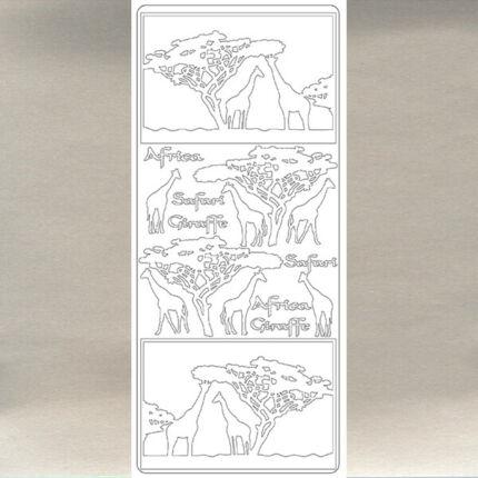 Kontúrmatrica - zsiráf, ezüst, 2830  - AKCIÓS