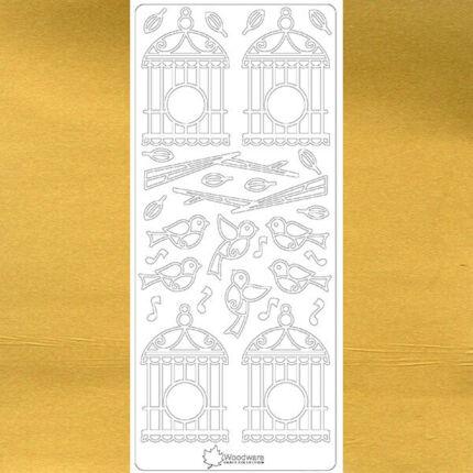 Kontúrmatrica - madárkalitka, arany, 3199  - AKCIÓS