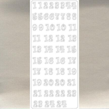 Kontúrmatrica - adventi számok, ezüst, 4114  - AKCIÓS