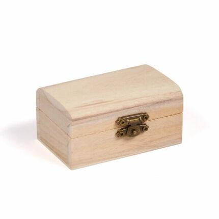 Fa doboz, mini - kincsesláda, 9x6x4,5 cm