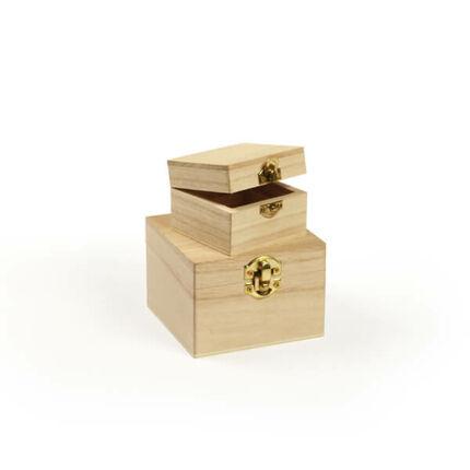 Fa dobozkészlet - 2 db-os négyzet, 10x10x7/7x7x5 cm