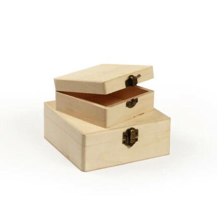 Fa dobozkészlet - 2 db-os négyzet, lapos, 15x15x6/11x11x5 cm