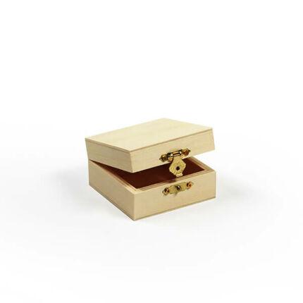 Fa doboz - négyzet, 8x8x4,3 cm