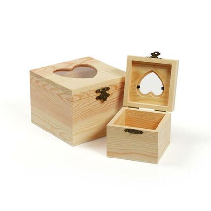Fa dobozkészlet - 2 db-os négyzet, szíves ablakos, 12x12x9,5/8x8x7,3 cm