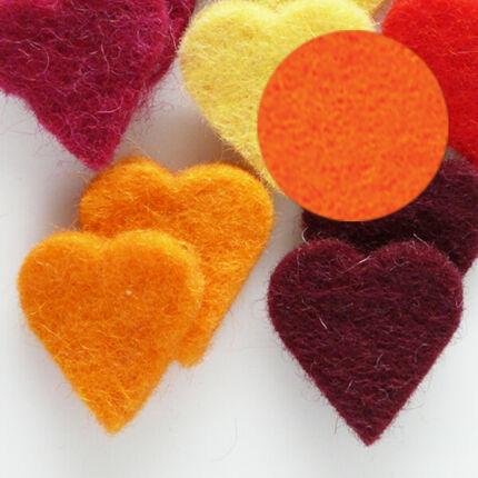 Filc forma, lapos - szív, narancs, darabra