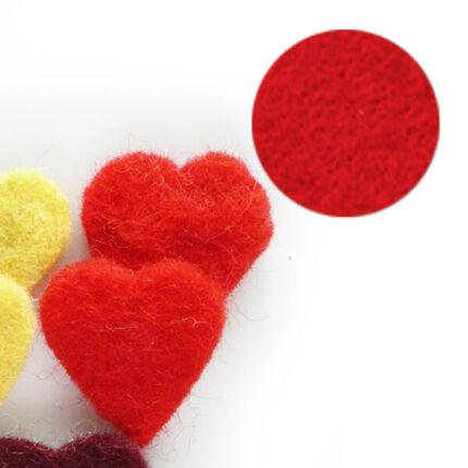 Filc forma, lapos - szív, piros, darabra