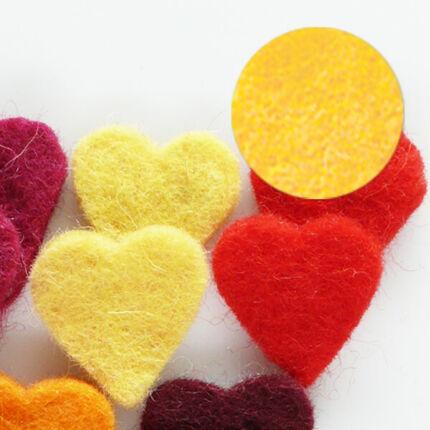 Filc forma, lapos - szív, sárga, darabra