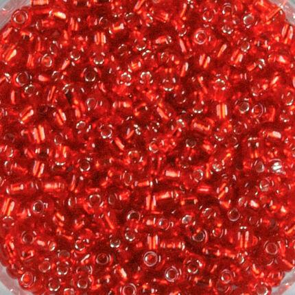 Átlátszó, ezüst béléses kásagyöngy, 2 mm - piros
