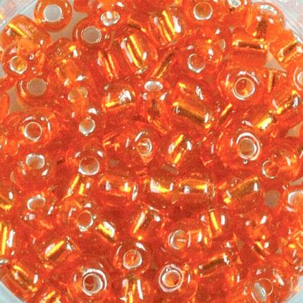 Átlátszó, ezüst béléses kásagyöngy, 4 mm - narancssárga