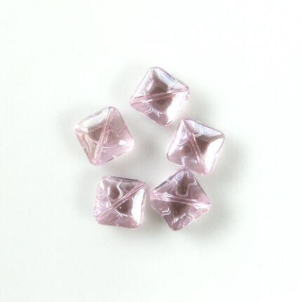 Üveggyöngy Yingli - négyzet, rózsaszín, 5 db