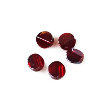 Üveggyöngy Yingli - kerek, piros, 5 db