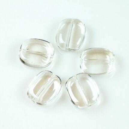 Üveggyöngy Yingli - szögletes, átlátszó, 5 db