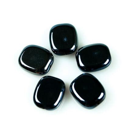Üveggyöngy Yingli - szögletes, fekete, 5 db
