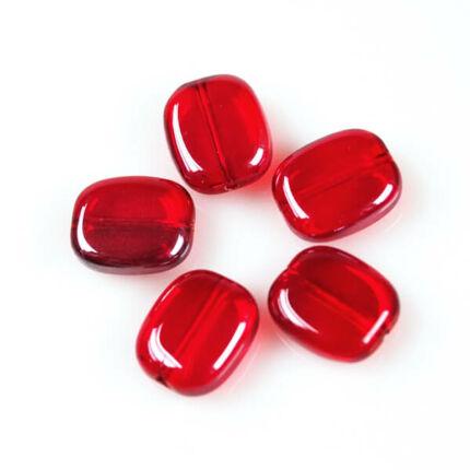Üveggyöngy Yingli - szögletes, piros, 5 db