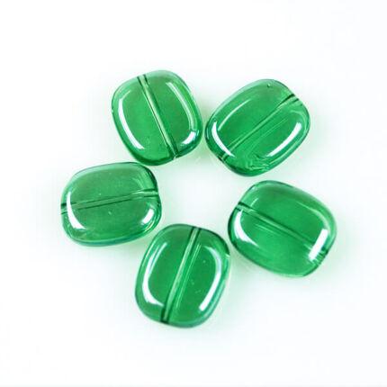 Üveggyöngy Yingli - szögletes, zöld, 5 db