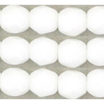 Cseh csiszolt üveggyöngy, 3 mm - white