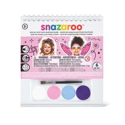 Snazaroo arcfesték készlet + sminkkönyv, 4x1 ml - Lányoknak