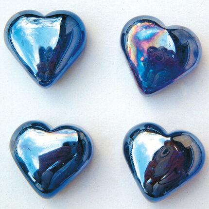 Üvegforma, darabra - szív, kék