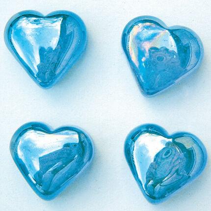 Üvegforma, darabra - szív, világoskék